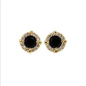 Simple golden black crystal earrings